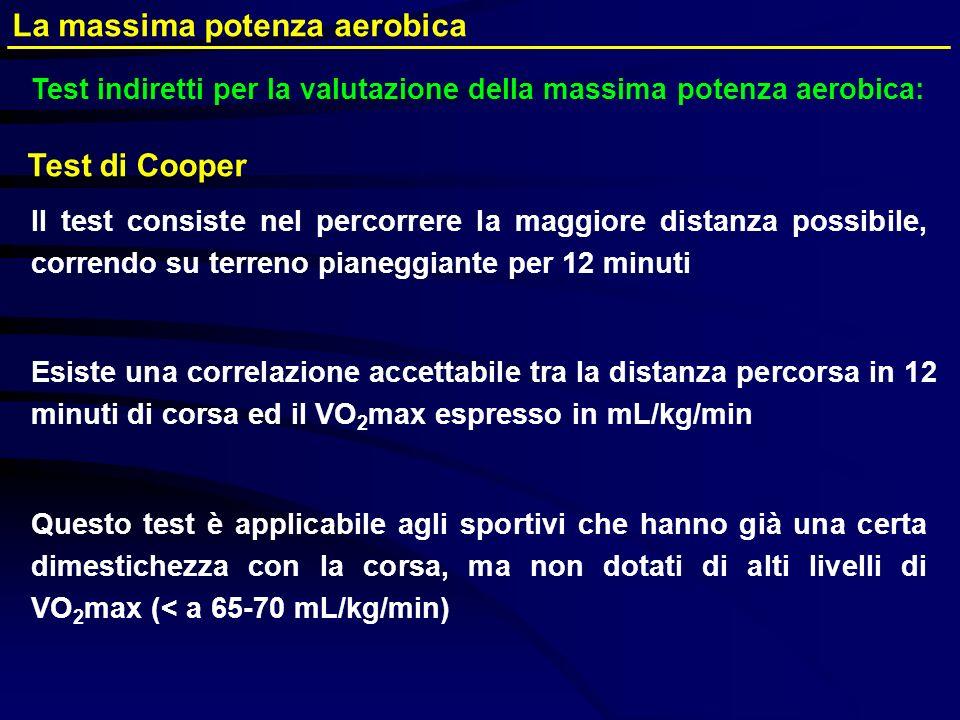 Test di Cooper Il test consiste nel percorrere la maggiore distanza possibile, correndo su terreno pianeggiante per 12 minuti Esiste una correlazione