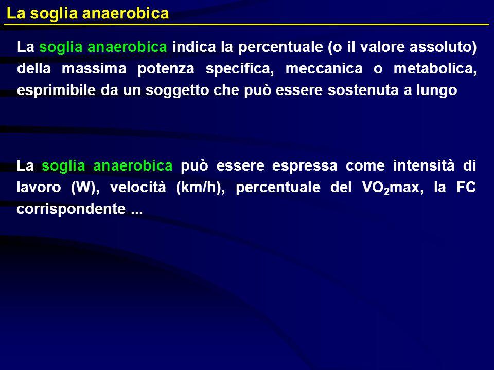 La soglia anaerobica La soglia anaerobica indica la percentuale (o il valore assoluto) della massima potenza specifica, meccanica o metabolica, esprim