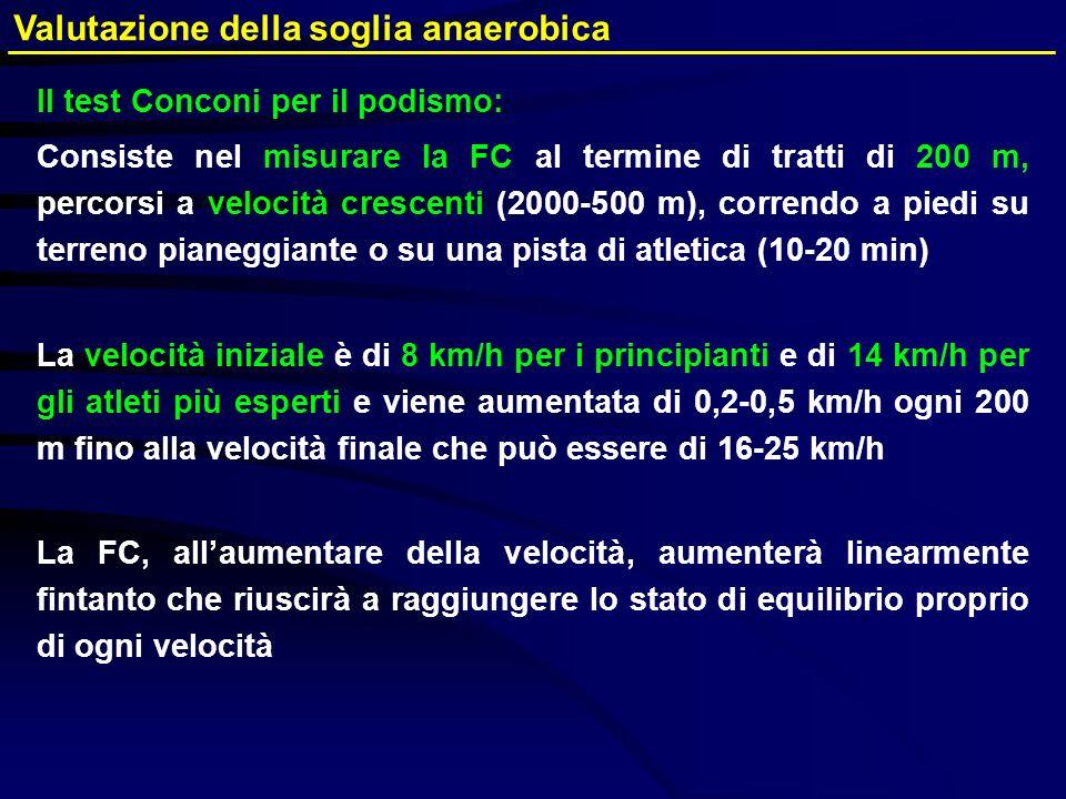 Valutazione della soglia anaerobica Il test Conconi per il podismo: Consiste nel misurare la FC al termine di tratti di 200 m, percorsi a velocità cre