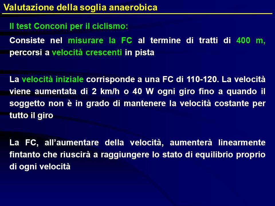 Valutazione della soglia anaerobica Il test Conconi per il ciclismo: Consiste nel misurare la FC al termine di tratti di 400 m, percorsi a velocità cr
