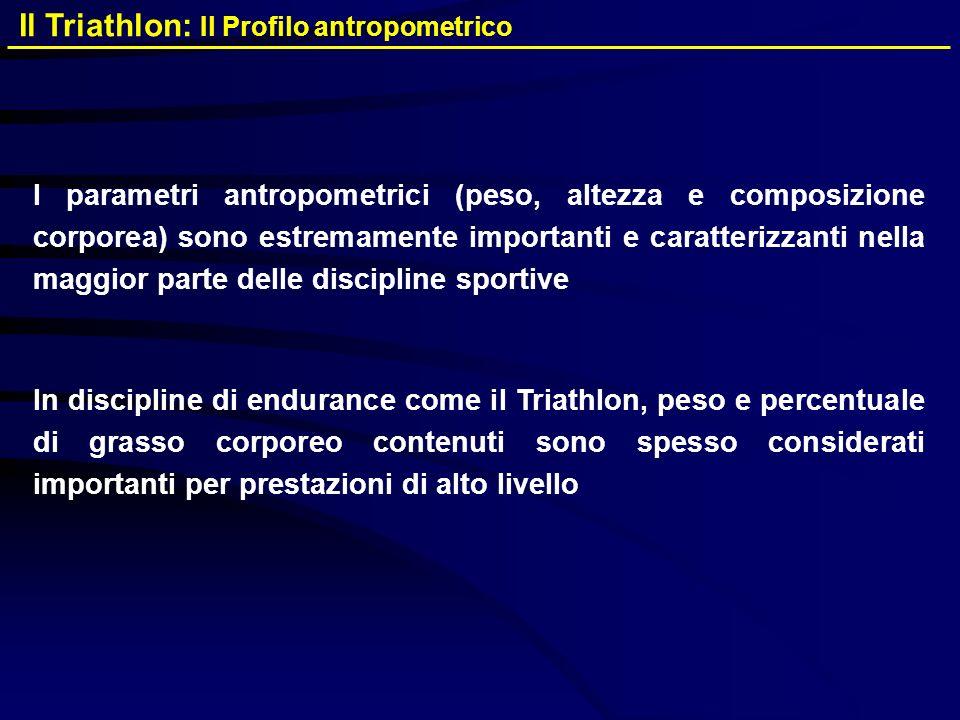 I parametri antropometrici (peso, altezza e composizione corporea) sono estremamente importanti e caratterizzanti nella maggior parte delle discipline