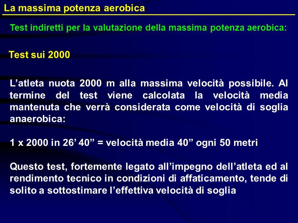 Test indiretti per la valutazione della massima potenza aerobica: La massima potenza aerobica Latleta nuota 2000 m alla massima velocità possibile. Al