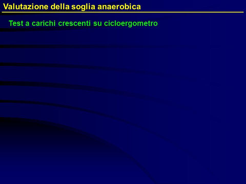 Valutazione della soglia anaerobica Test a carichi crescenti su cicloergometro