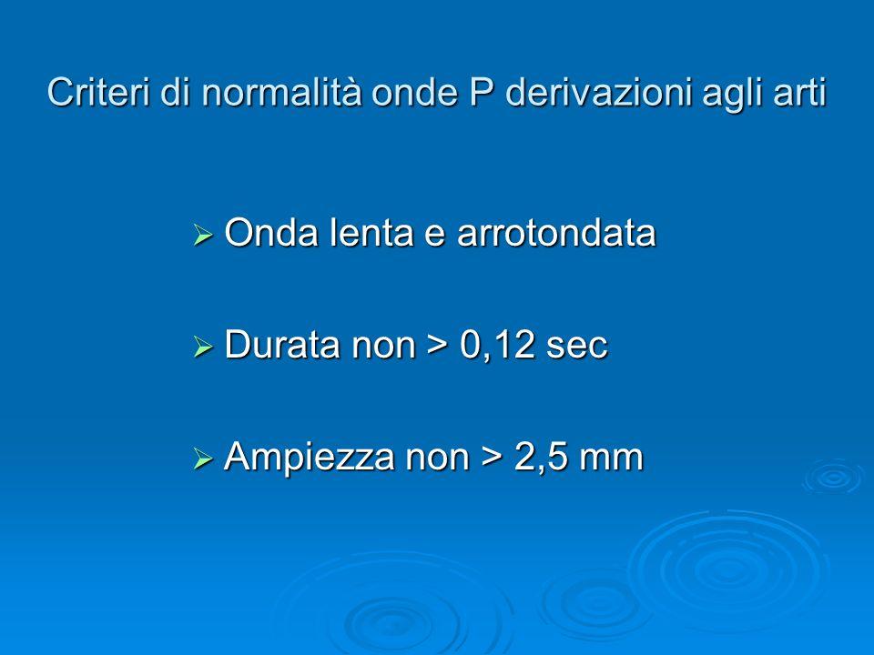 Criteri di normalità onde P derivazioni agli arti Onda lenta e arrotondata Onda lenta e arrotondata Durata non > 0,12 sec Durata non > 0,12 sec Ampiezza non > 2,5 mm Ampiezza non > 2,5 mm
