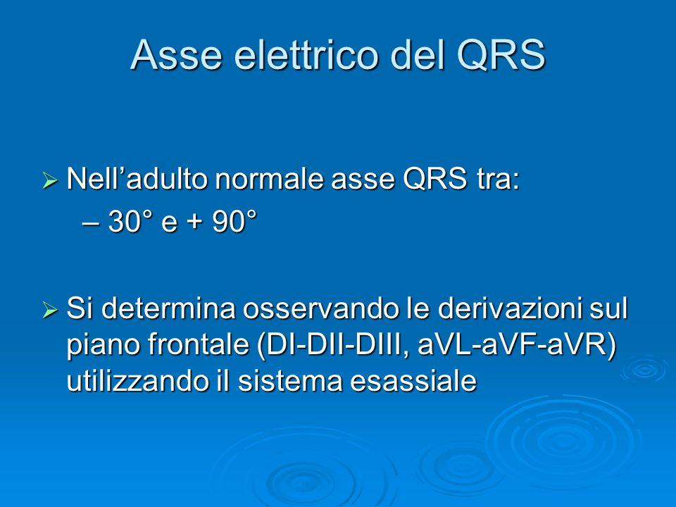 Asse elettrico del QRS Nelladulto normale asse QRS tra: Nelladulto normale asse QRS tra: – 30° e + 90° – 30° e + 90° Si determina osservando le derivazioni sul piano frontale (DI-DII-DIII, aVL-aVF-aVR) utilizzando il sistema esassiale Si determina osservando le derivazioni sul piano frontale (DI-DII-DIII, aVL-aVF-aVR) utilizzando il sistema esassiale