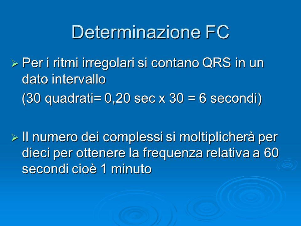 Determinazione FC Per i ritmi irregolari si contano QRS in un dato intervallo Per i ritmi irregolari si contano QRS in un dato intervallo (30 quadrati