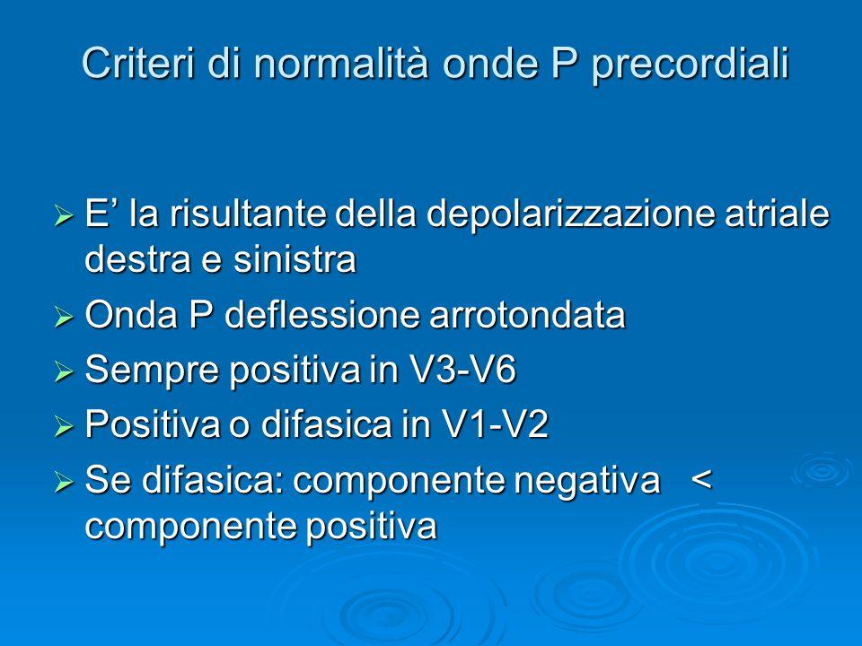 Criteri di normalità onde P precordiali E la risultante della depolarizzazione atriale destra e sinistra E la risultante della depolarizzazione atriale destra e sinistra Onda P deflessione arrotondata Onda P deflessione arrotondata Sempre positiva in V3-V6 Sempre positiva in V3-V6 Positiva o difasica in V1-V2 Positiva o difasica in V1-V2 Se difasica: componente negativa < componente positiva Se difasica: componente negativa < componente positiva