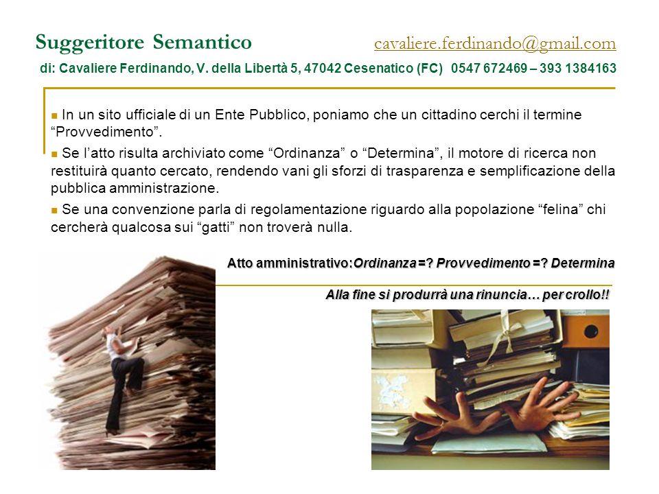 Suggeritore Semantico cavaliere.ferdinando@gmail.com di: Cavaliere Ferdinando, V. della Libertà 5, 47042 Cesenatico (FC) 0547 672469 – 393 1384163 cav