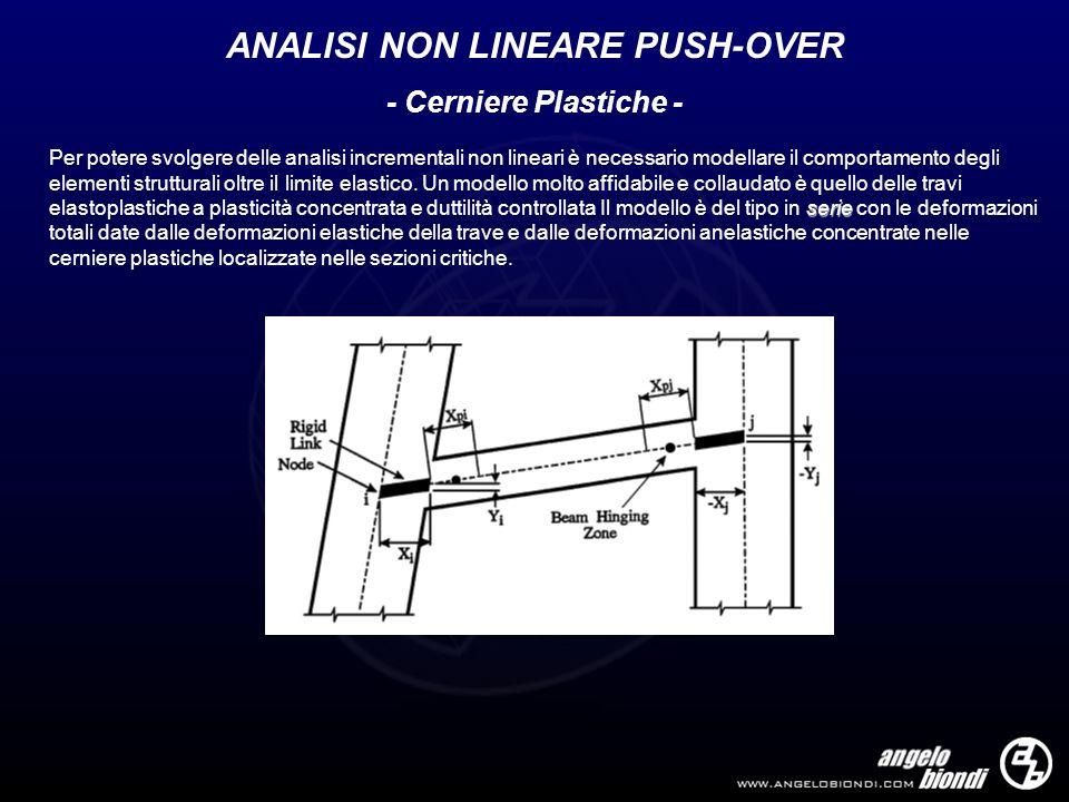 - Cerniere Plastiche - serie Per potere svolgere delle analisi incrementali non lineari è necessario modellare il comportamento degli elementi struttu