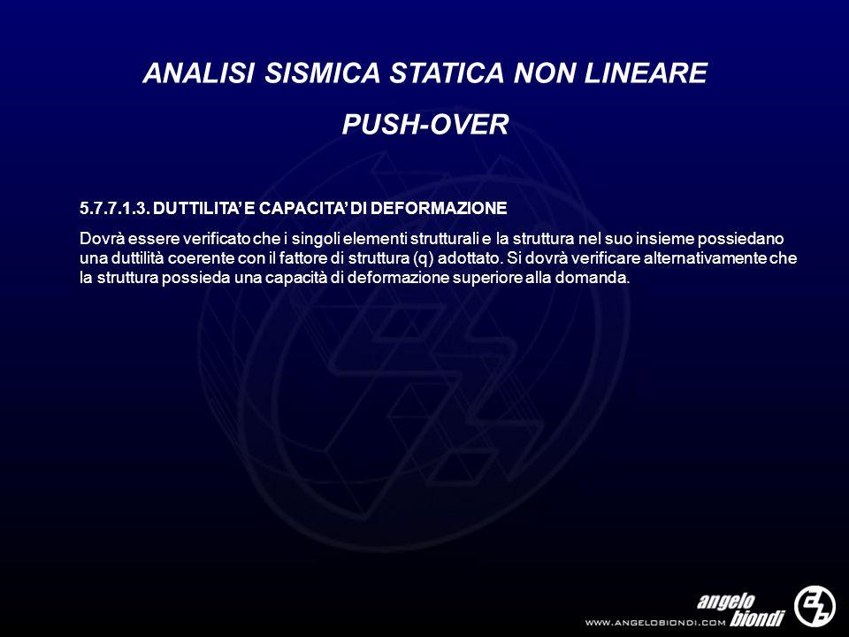 ANALISI SISMICA STATICA NON LINEARE PUSH-OVER 5.7.7.1.3. DUTTILITA E CAPACITA DI DEFORMAZIONE Dovrà essere verificato che i singoli elementi struttura