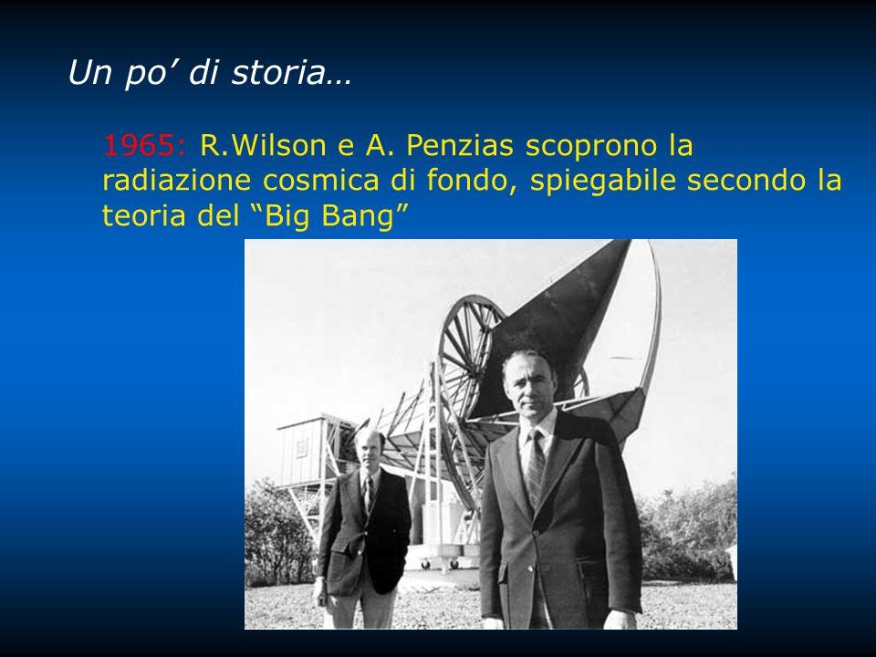 Un po di storia… 1965: R.Wilson e A. Penzias scoprono la radiazione cosmica di fondo, spiegabile secondo la teoria del Big Bang