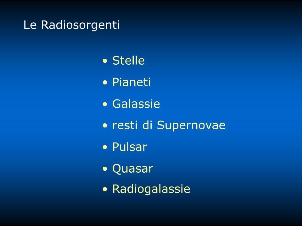 Le Radiosorgenti Stelle Pianeti Galassie resti di Supernovae Pulsar Quasar Radiogalassie