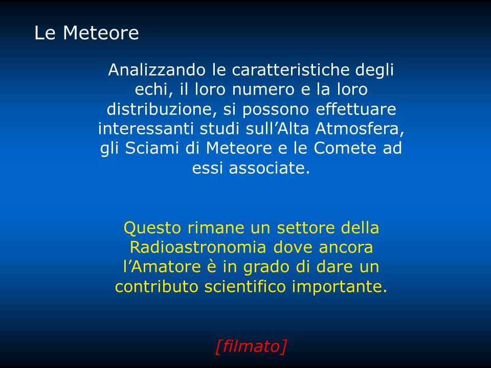 Le Meteore Analizzando le caratteristiche degli echi, il loro numero e la loro distribuzione, si possono effettuare interessanti studi sullAlta Atmosfera, gli Sciami di Meteore e le Comete ad essi associate.