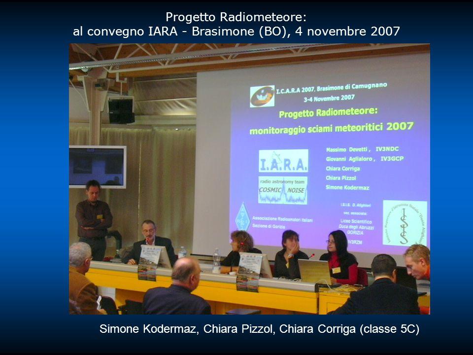 Progetto Radiometeore: al convegno IARA - Brasimone (BO), 4 novembre 2007 Simone Kodermaz, Chiara Pizzol, Chiara Corriga (classe 5C)