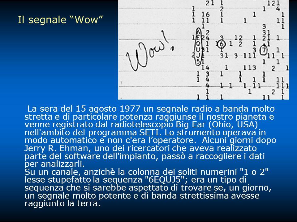 Il segnale Wow La sera del 15 agosto 1977 un segnale radio a banda molto stretta e di particolare potenza raggiunse il nostro pianeta e venne registrato dal radiotelescopio Big Ear (Ohio, USA) nell ambito del programma SETI.