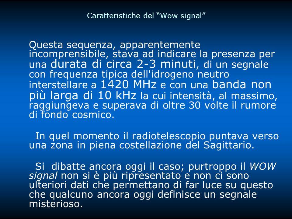 Caratteristiche del Wow signal Questa sequenza, apparentemente incomprensibile, stava ad indicare la presenza per una durata di circa 2-3 minuti, di un segnale con frequenza tipica dell idrogeno neutro interstellare a 1420 MHz e con una banda non più larga di 10 kHz la cui intensità, al massimo, raggiungeva e superava di oltre 30 volte il rumore di fondo cosmico.