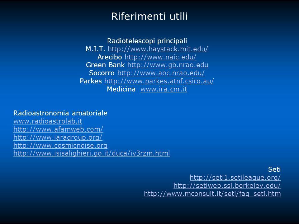 Riferimenti utili Radiotelescopi principali M.I.T.