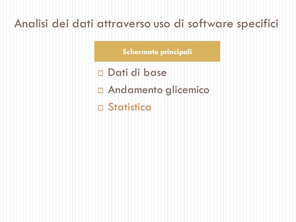 Dati di base Andamento glicemico Statistica Schermate principali Analisi dei dati attraverso uso di software specifici
