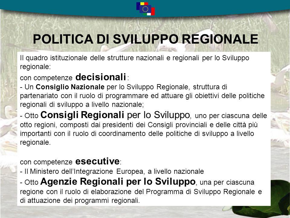 TWINNING PROJECT RO2003/IB/SPP/02 Per il periodo di programmazione 2004-2006 il Governo della Romania si era dato lobiettivo di consolidare il processo di institution building attraverso il miglioramento delle capacità delle otto Agenzie di Sviluppo Regionale : -come Autorità di gestione per i programmi PHARE per la Coesione Economica e Sociale (ESC) 2004-2006; -come organizzazioni in grado di guidare il processo di pianificazione dello sviluppo economico sociale a livello regionale, insieme al rafforzamento della cooperazione e del partenariato istituzionale, nellambito del Programma di Sviluppo Regionale - come Organismo Intermedio del Programma Operativo Regionale nellambito della programmazione dei Fondi Strutturali 2007-20013