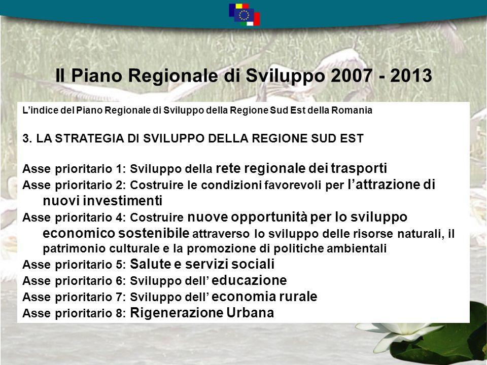 Il Piano Regionale di Sviluppo 2007 - 2013 Lindice del Piano Regionale di Sviluppo della Regione Sud Est della Romania 1.