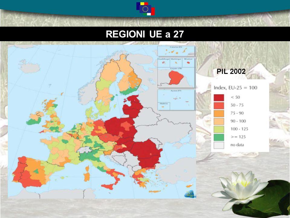 REGIONI UE a 25 La concentrazione geografica Regioni con Pil inferiore o vicino al limite del 75% Regions <75% in EUR 25 Statistical effect >75% ) Phasing-in regions Other regions