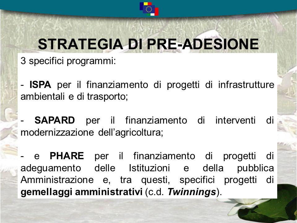 STRATEGIA DI PRE-ADESIONE 3 specifici programmi: - ISPA per il finanziamento di progetti di infrastrutture ambientali e di trasporto; - SAPARD per il finanziamento di interventi di modernizzazione dellagricoltura; - e PHARE per il finanziamento di progetti di adeguamento delle Istituzioni e della pubblica Amministrazione e, tra questi, specifici progetti di gemellaggi amministrativi (c.d.