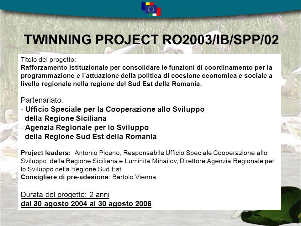 TWINNING PROJECT RO2003/IB/SPP/02 Titolo del progetto: Rafforzamento istituzionale per consolidare le funzioni di coordinamento per la programmazione e lattuazione della politica di coesione economica e sociale a livello regionale nella regione del Sud Est della Romania.
