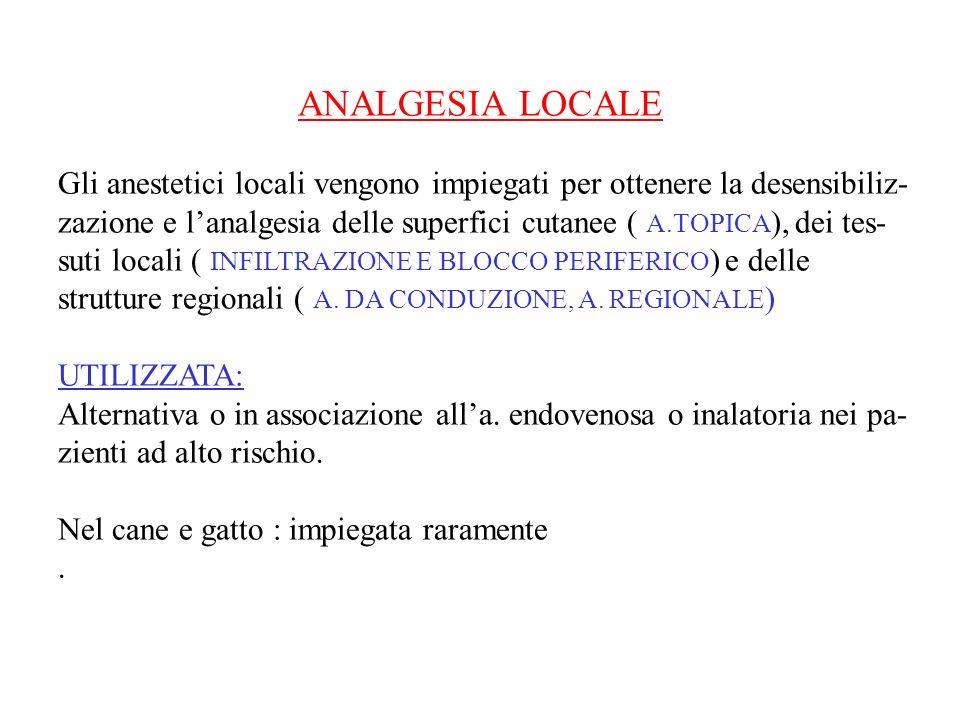 ANALGESIA LOCALE Gli anestetici locali vengono impiegati per ottenere la desensibiliz- zazione e lanalgesia delle superfici cutanee ( A.TOPICA ), dei tes- suti locali ( INFILTRAZIONE E BLOCCO PERIFERICO ) e delle strutture regionali ( A.