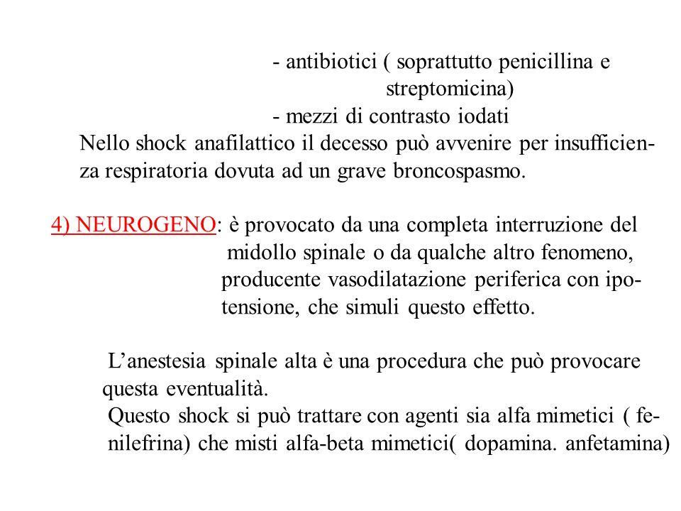 - antibiotici ( soprattutto penicillina e streptomicina) - mezzi di contrasto iodati Nello shock anafilattico il decesso può avvenire per insufficien- za respiratoria dovuta ad un grave broncospasmo.