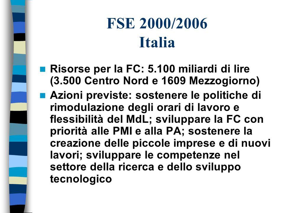 FSE 2000/2006 Italia Risorse per la FC: 5.100 miliardi di lire (3.500 Centro Nord e 1609 Mezzogiorno) Azioni previste: sostenere le politiche di rimodulazione degli orari di lavoro e flessibilità del MdL; sviluppare la FC con priorità alle PMI e alla PA; sostenere la creazione delle piccole imprese e di nuovi lavori; sviluppare le competenze nel settore della ricerca e dello sviluppo tecnologico