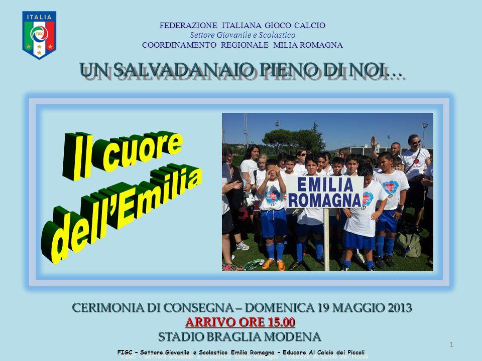1 FIGC – Settore Giovanile e Scolastico Emilia Romagna – Educare Al Calcio dei Piccoli CERIMONIA DI CONSEGNA – DOMENICA 19 MAGGIO 2013 CERIMONIA DI CO