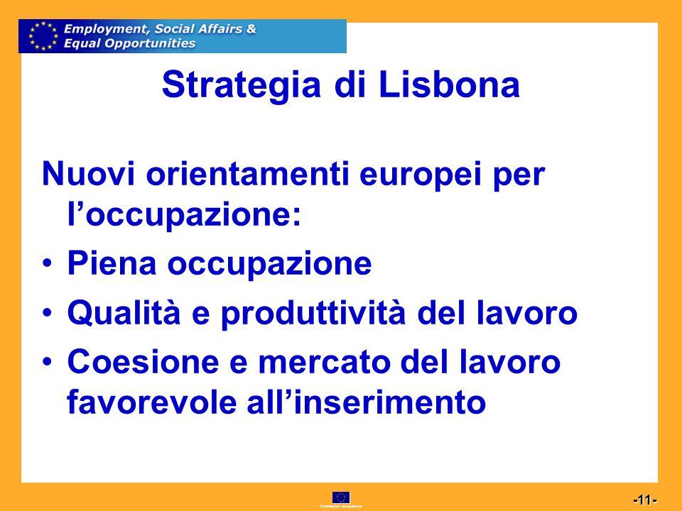 Commission européenne 11 -11- Strategia di Lisbona Nuovi orientamenti europei per loccupazione: Piena occupazione Qualità e produttività del lavoro Coesione e mercato del lavoro favorevole allinserimento