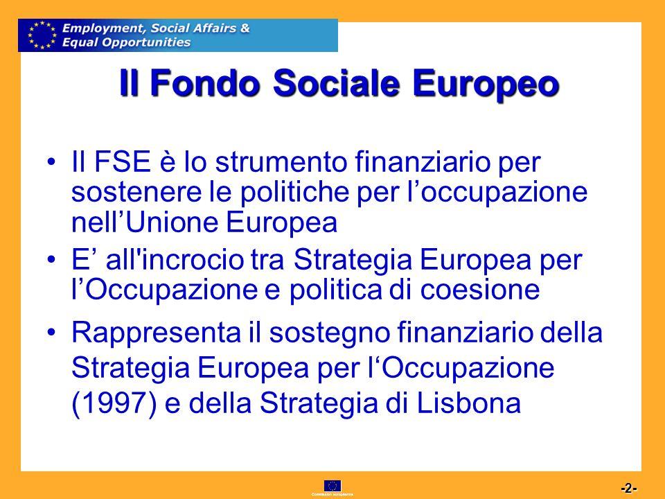 Commission européenne 2 -2- Il Fondo Sociale Europeo Il FSE è lo strumento finanziario per sostenere le politiche per loccupazione nellUnione Europea E all incrocio tra Strategia Europea per lOccupazione e politica di coesione Rappresenta il sostegno finanziario della Strategia Europea per lOccupazione (1997) e della Strategia di Lisbona