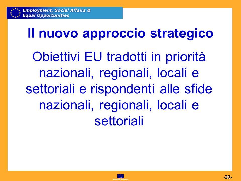 Commission européenne 20 -20- Il nuovo approccio strategico Obiettivi EU tradotti in priorità nazionali, regionali, locali e settoriali e rispondenti alle sfide nazionali, regionali, locali e settoriali