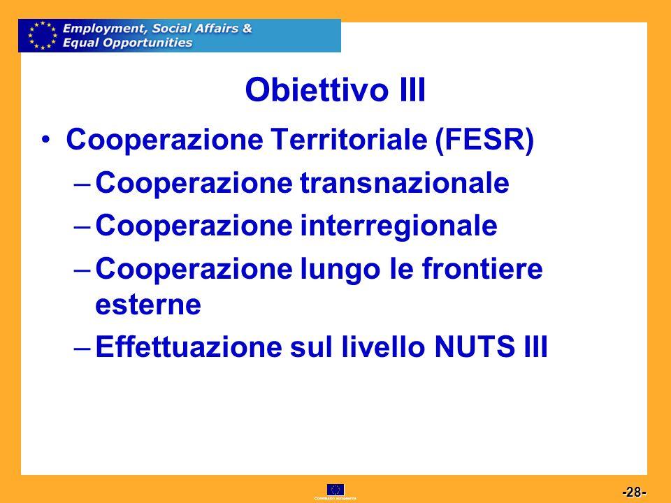 Commission européenne 28 -28- Obiettivo III Cooperazione Territoriale (FESR) –Cooperazione transnazionale –Cooperazione interregionale –Cooperazione lungo le frontiere esterne –Effettuazione sul livello NUTS III