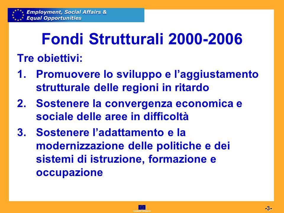 Commission européenne 3 -3- Fondi Strutturali 2000-2006 Tre obiettivi: 1.Promuovere lo sviluppo e laggiustamento strutturale delle regioni in ritardo 2.Sostenere la convergenza economica e sociale delle aree in difficoltà 3.Sostenere ladattamento e la modernizzazione delle politiche e dei sistemi di istruzione, formazione e occupazione