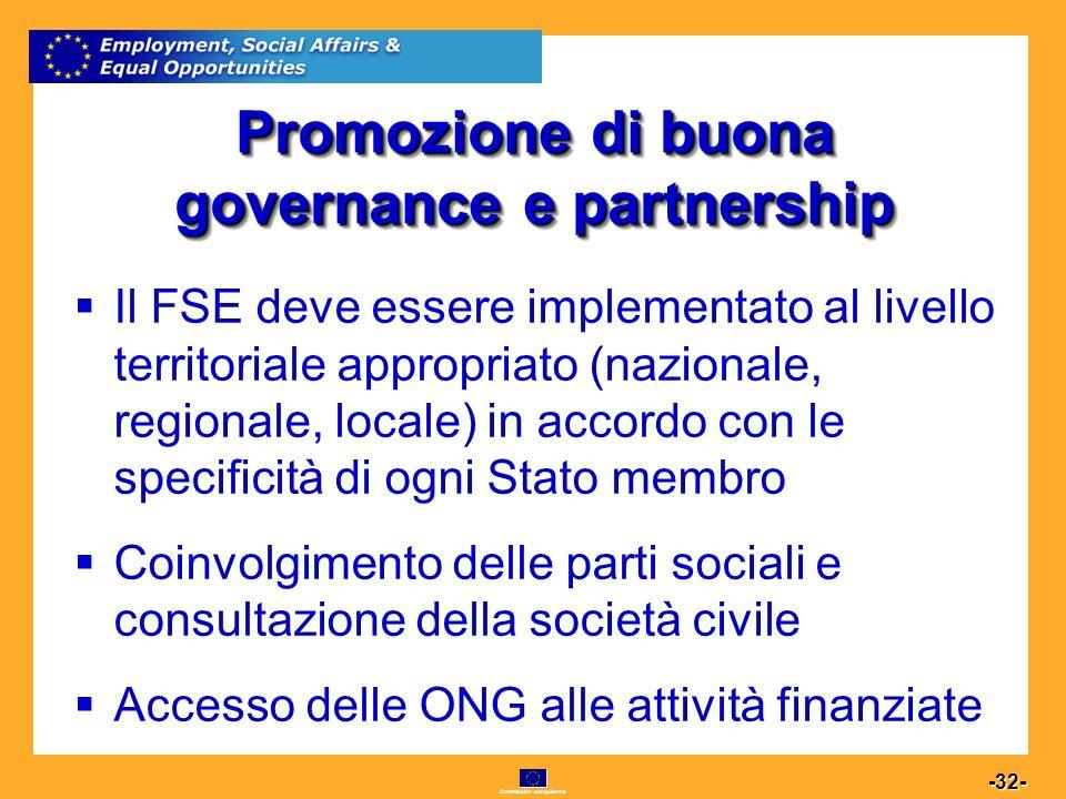 Commission européenne 32 -32- Promozione di buona governance e partnership Il FSE deve essere implementato al livello territoriale appropriato (nazionale, regionale, locale) in accordo con le specificità di ogni Stato membro Coinvolgimento delle parti sociali e consultazione della società civile Accesso delle ONG alle attività finanziate