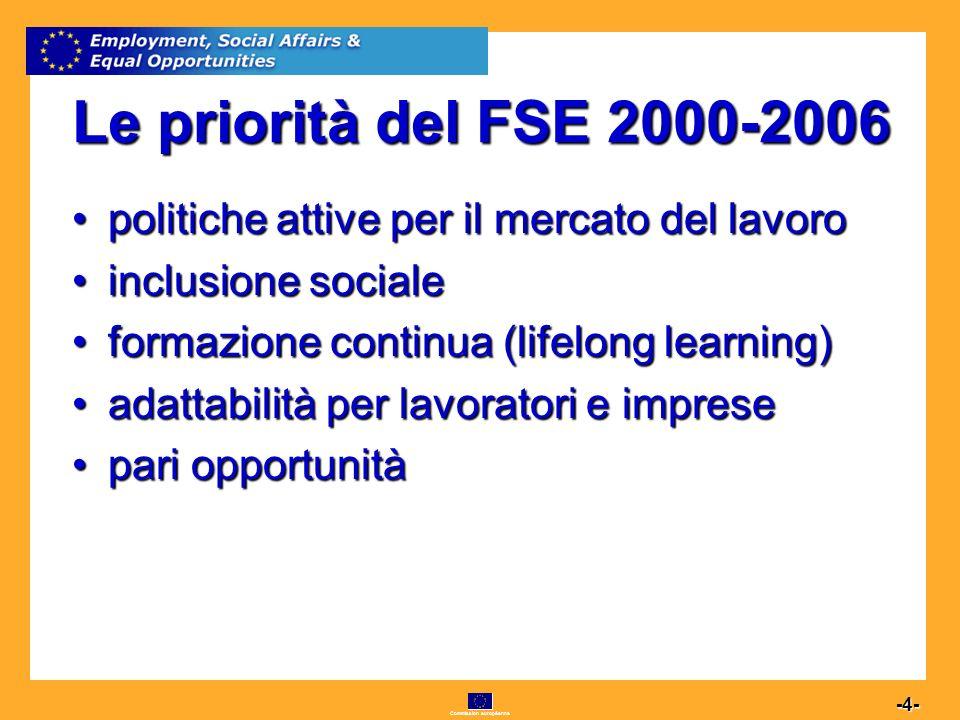 Commission européenne 4 -4- Le priorità del FSE 2000-2006 politiche attive per il mercato del lavoropolitiche attive per il mercato del lavoro inclusionesocialeinclusione sociale formazione continua (lifelong learning)formazione continua (lifelong learning) adattabilità per lavoratori e impreseadattabilità per lavoratori e imprese pari opportunitàpari opportunità