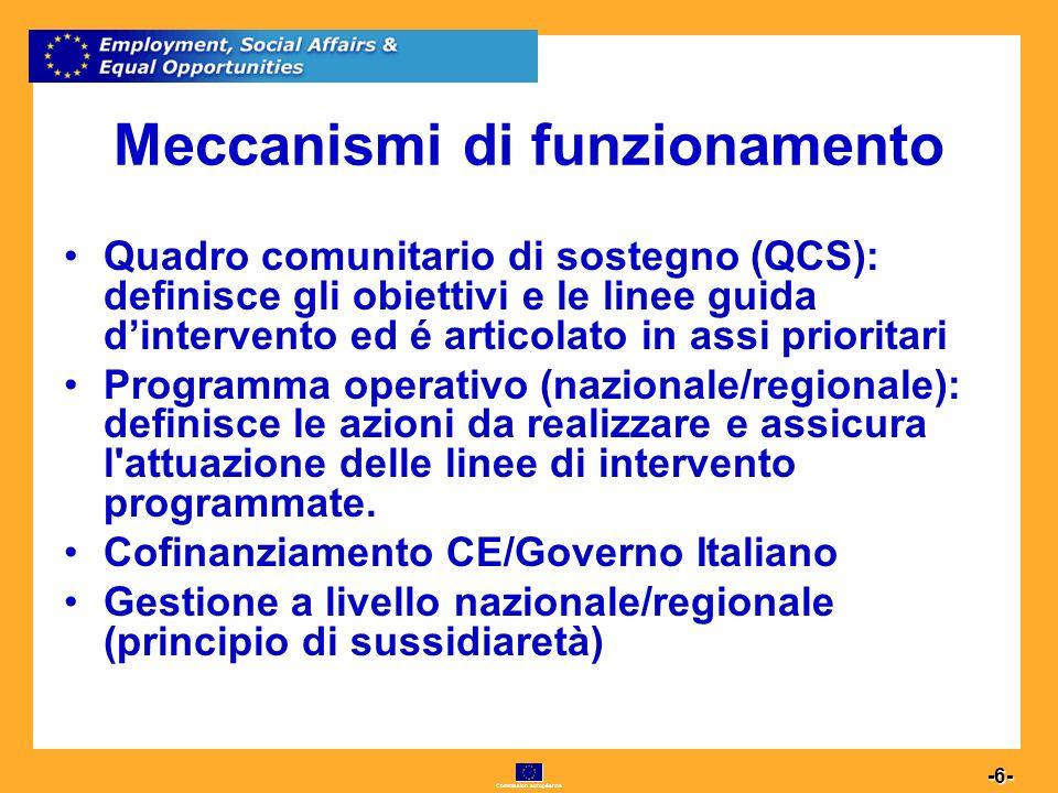 Commission européenne 6 -6- Meccanismi di funzionamento Quadro comunitario di sostegno (QCS): definisce gli obiettivi e le linee guida dintervento ed é articolato in assi prioritari Programma operativo (nazionale/regionale): definisce le azioni da realizzare e assicura l attuazione delle linee di intervento programmate.