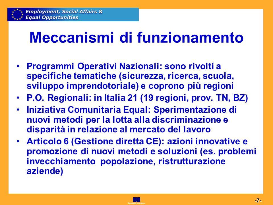 Commission européenne 7 -7- Meccanismi di funzionamento Programmi Operativi Nazionali: sono rivolti a specifiche tematiche (sicurezza, ricerca, scuola, sviluppo imprendotoriale) e coprono più regioni P.O.