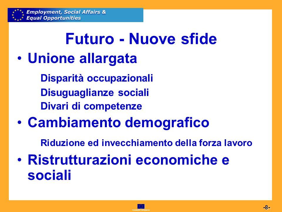 Commission européenne 8 -8- Futuro - Nuove sfide Unione allargata Disparità occupazionali Disuguaglianze sociali Divari di competenze Cambiamento demografico Riduzione ed invecchiamento della forza lavoro Ristrutturazioni economiche e sociali