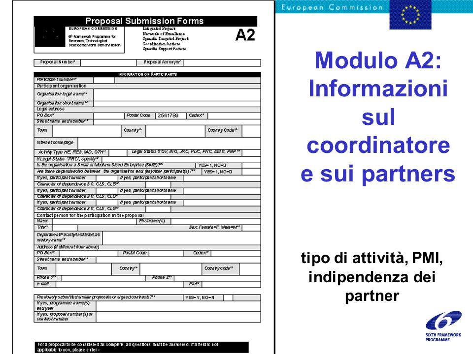 18/11/02 - 10 Genova presentation Modulo A2: Informazioni sul coordinatore e sui partners tipo di attività, PMI, indipendenza dei partner