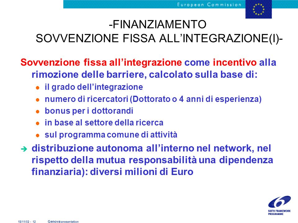 18/11/02 - 12 Genova presentation -FINANZIAMENTO SOVVENZIONE FISSA ALLINTEGRAZIONE(I)- Sovvenzione fissa allintegrazione come incentivo alla rimozione