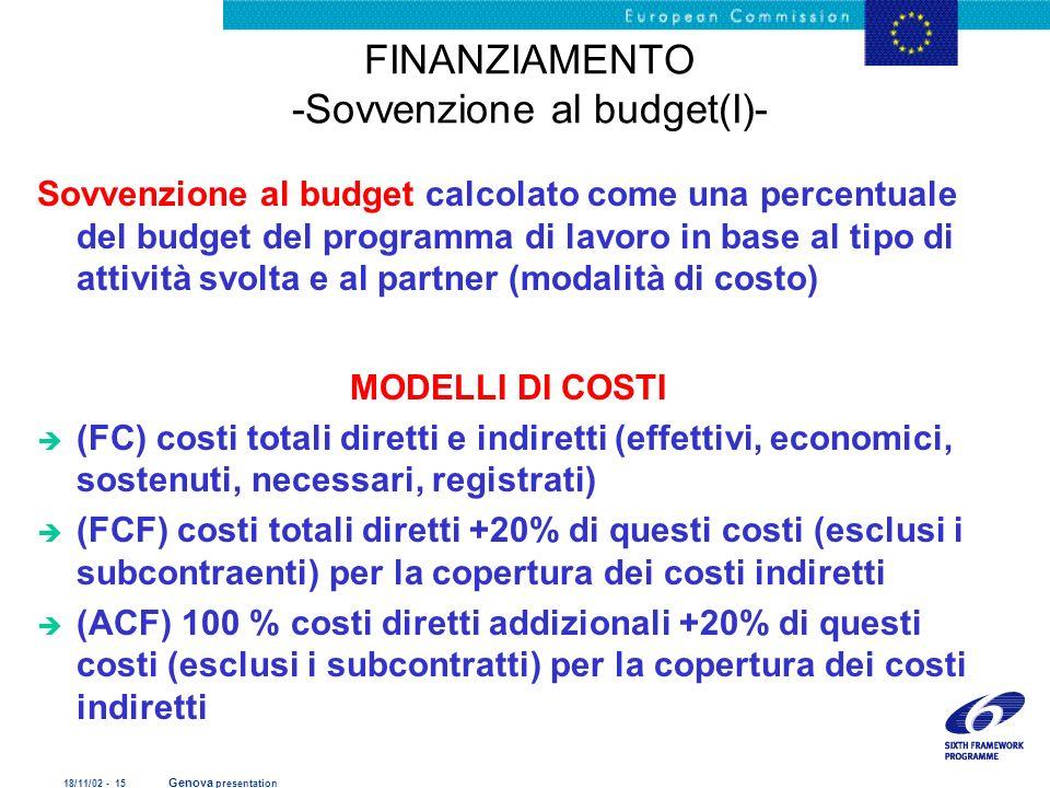 18/11/02 - 15 Genova presentation FINANZIAMENTO -Sovvenzione al budget(I)- Sovvenzione al budget calcolato come una percentuale del budget del program