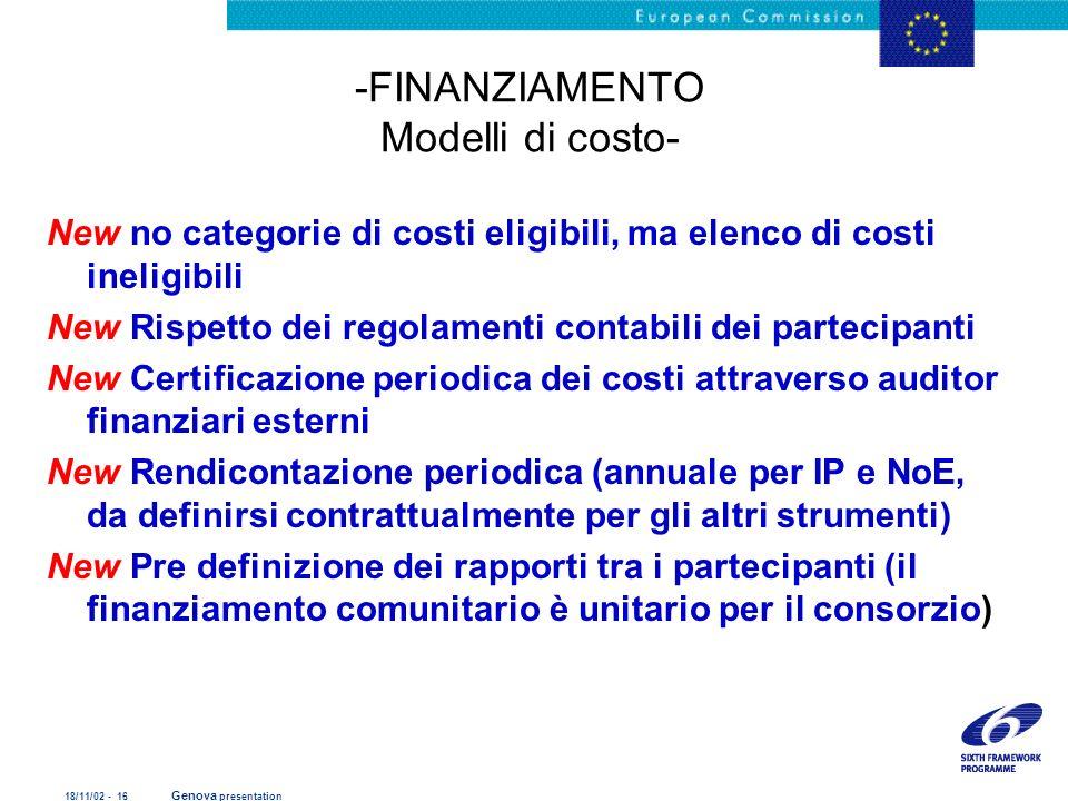 18/11/02 - 16 Genova presentation -FINANZIAMENTO Modelli di costo- New no categorie di costi eligibili, ma elenco di costi ineligibili New Rispetto de
