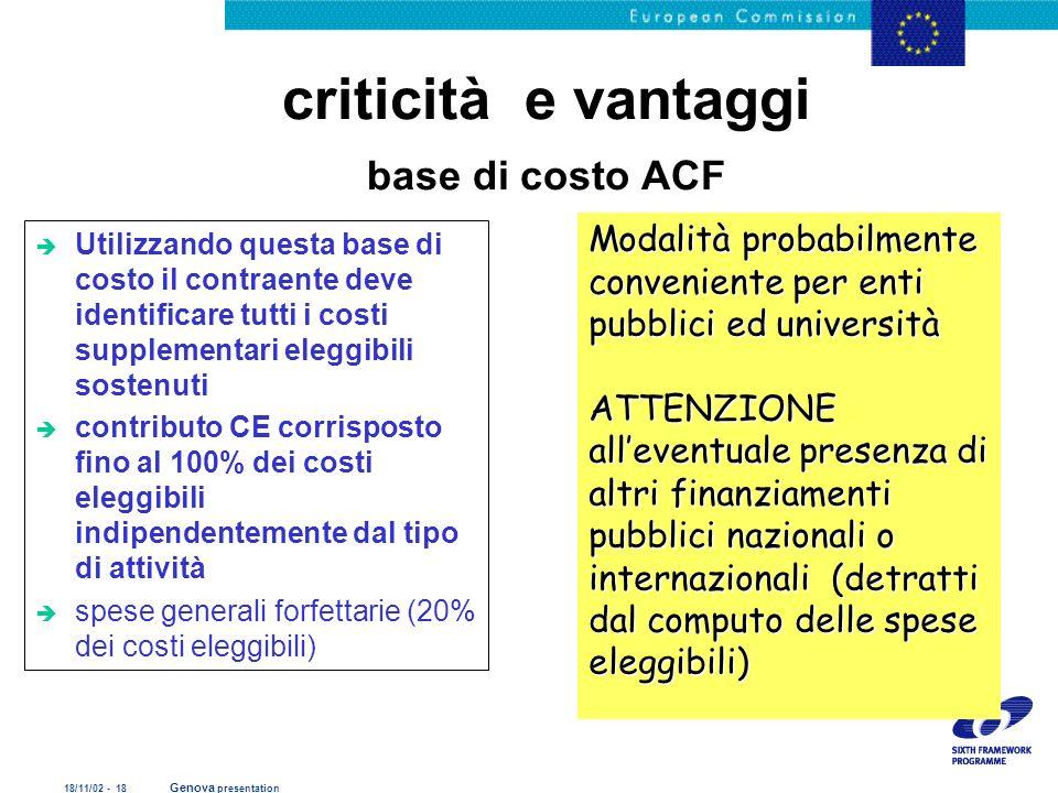 18/11/02 - 18 Genova presentation criticità e vantaggi base di costo ACF è Utilizzando questa base di costo il contraente deve identificare tutti i co