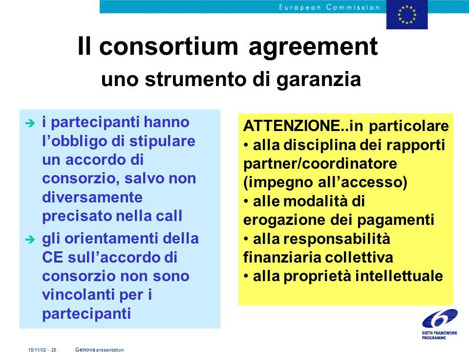 18/11/02 - 28 Genova presentation Il consortium agreement uno strumento di garanzia è i partecipanti hanno lobbligo di stipulare un accordo di consorz