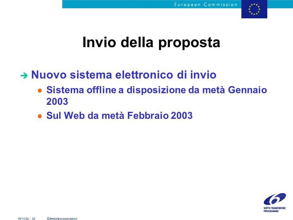 18/11/02 - 30 Genova presentation Invio della proposta è Nuovo sistema elettronico di invio l Sistema offline a disposizione da metà Gennaio 2003 l Su