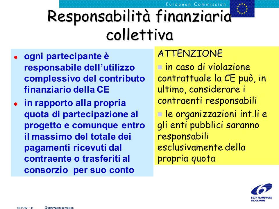 18/11/02 - 41 Genova presentation Responsabilità finanziaria collettiva l ogni partecipante è responsabile dellutilizzo complessivo del contributo fin