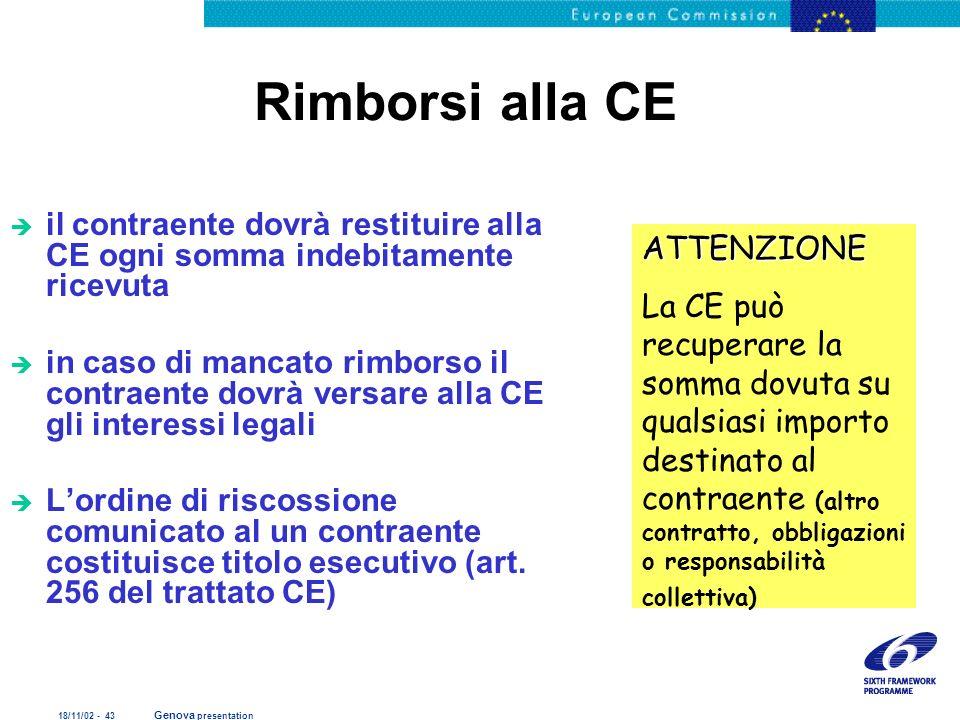 18/11/02 - 43 Genova presentation Rimborsi alla CE è il contraente dovrà restituire alla CE ogni somma indebitamente ricevuta è in caso di mancato rim